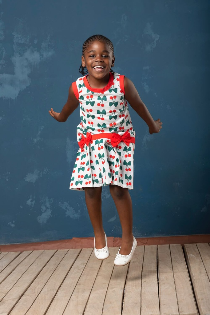 Girls Cotton Cherry Dress